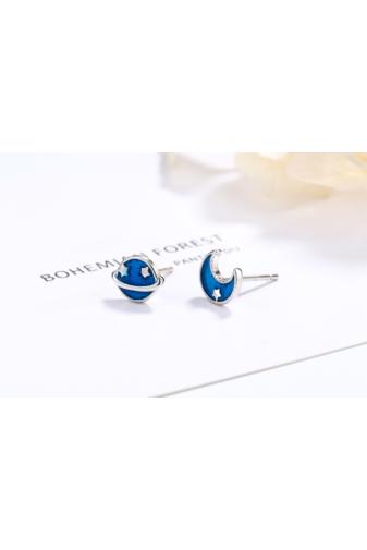 Kép 1/3 - A & ONE S925 Ezüst Fülbevaló, Kék Bolgyó És Hold Formával