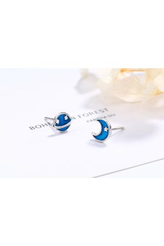 Kép 2/3 - A & ONE S925 Ezüst Fülbevaló, Kék Bolgyó És Hold Formával