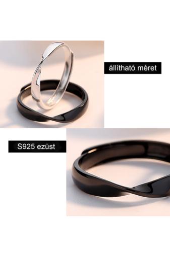 Kép 2/3 - A & ONE Állítható, S925 Ezüst, Minimalista Stílusú Gyűrű - Női