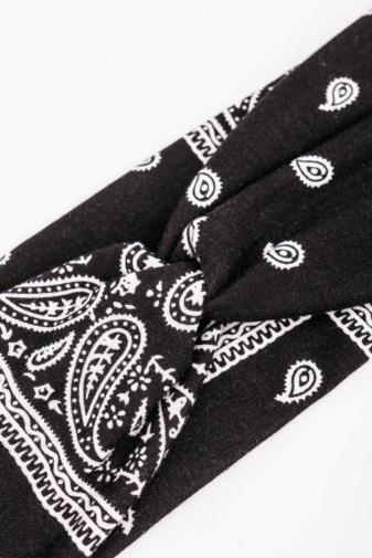 Kép 2/4 - A & ONE Fekete Alapon Fehér Mintás Textil Hajpánt