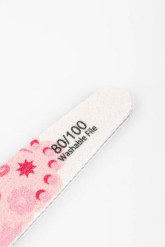 Kép 2/2 - Nail Sunshine Kerekített Körömreszelő 80/100 Rózsaszín