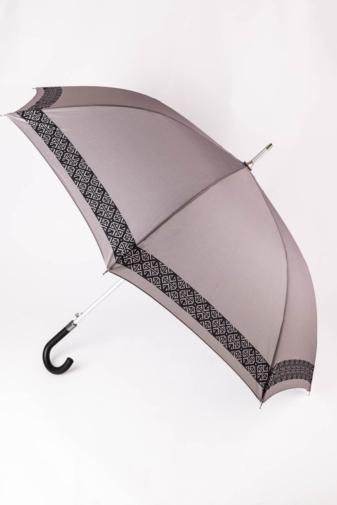 Kép 1/4 - Szürke Fekete Geometriai Mintás Uniszex Bot Esernyő, 134 cm Átmérővel