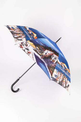 Kép 1/4 - Különleges Kék Nyári Tájkép Mintás Bot Esernyő, 116 cm Átmérővel