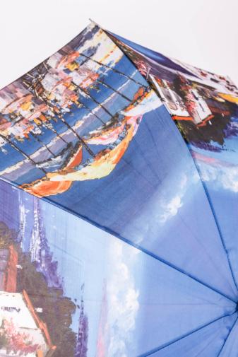 Kép 3/4 - Különleges Kék Nyári Tájkép Mintás Bot Esernyő, 116 cm Átmérővel