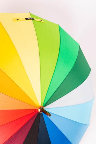 Kép 2/5 - Szivárványos, Többszínű Bot Esernyő, 119 cm Átmérővel