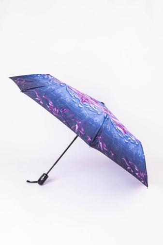 Kép 1/3 - Kék és Lila Virágos Automata Esernyő, 105 cm Átmérővel
