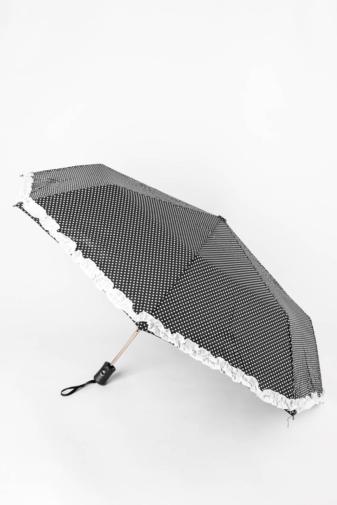 Kép 1/4 - Fekete Alapon Fehér Pöttyös És Csipkeszegélyes Automata Esernyő, 110 cm Átmérővel
