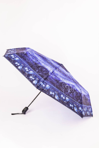 Kép 1/3 - Fekete és Kék Mintájú Automata Esernyő, 105 cm Átmérővel