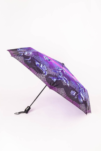 Kép 1/3 - Kék és Lila,Fekete Mintájú Automata Esernyő, 105 cm Átmérővel