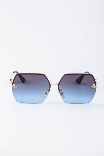 Kép 1/4 - A & ONE Kék Nagy Szögletes Lencséjű, Arany Szárú Napszemüveg