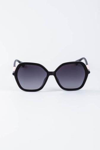 Kép 1/3 - A & ONE Fekete Ívesen Szögletes Nagy Méretű Napszemüveg Rózsaszín Díszítéssel