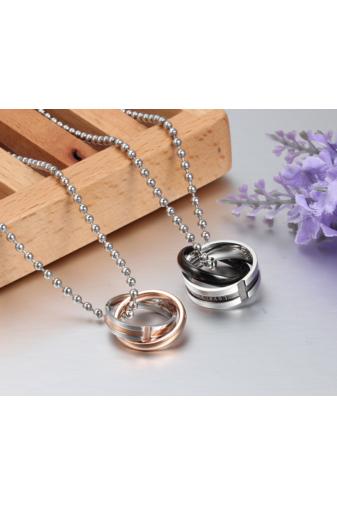 Kép 3/3 - A & ONE Ezüst És Rózsaarany Színű, Rozsdamentes Acélból Készült Nyaklánc Gyűrű Medállal