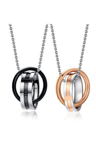 Kép 2/3 - A & ONE Ezüst És Rózsaarany Színű, Rozsdamentes Acélból Készült Nyaklánc Gyűrű Medállal