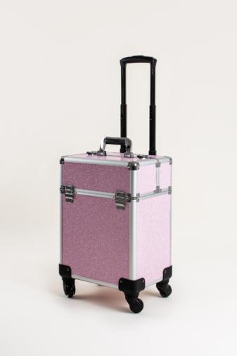 Kép 2/7 - Rózsaszín Csillogós, Zárható Gurulós Sminkes Bőrönd Kinyitható Rekeszekkel
