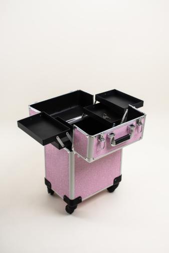Kép 5/7 - Rózsaszín Csillogós, Zárható Gurulós Sminkes Bőrönd Kinyitható Rekeszekkel