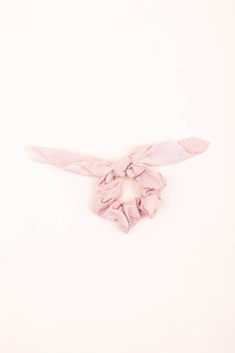 Kép 1/2 - A & ONE Világos Rózsaszín-Fehér Csíkos Hajgumi  Szalaggal Díszítve