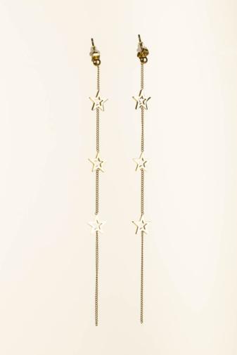 Kép 1/2 - A & ONE Arany Színű Titániumból Készült Lógós Fülbevaló, Csillagokkal Díszítve