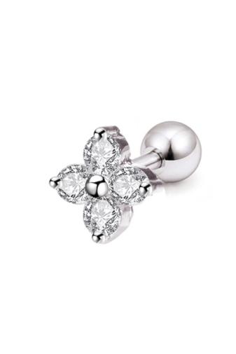 Kép 1/2 - A & ONE Ezüst Színű, Fehér Virágos, Cirkónia Köves Rozsdamentes Acél Fül Piercing