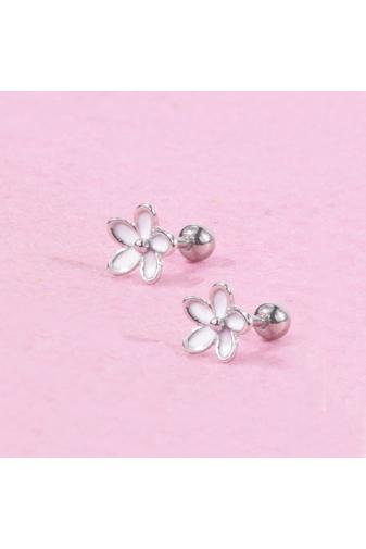 Kép 2/2 - A & ONE Ezüst Színű, Fehér Virágos Rozsdamentes Acél Fül Piercing