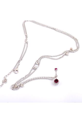 Kép 1/2 - A & ONE Ezüst Színű Láncos, Rózsaszín Köves Köldök Piercing