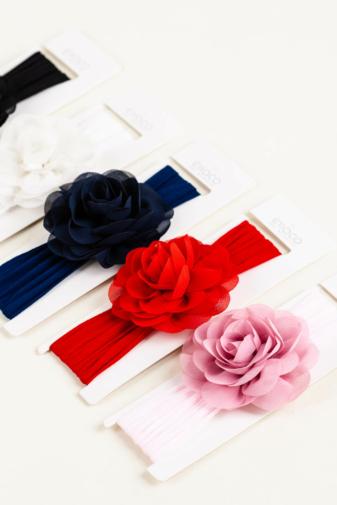 Kép 4/4 - A & ONE Világos Rózsaszín Rugalmas Baba Hajpánt Virág Dísszel
