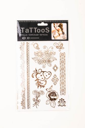 Kép 2/3 - Arany Csillogó Tetoválás Nőies Mintákkal
