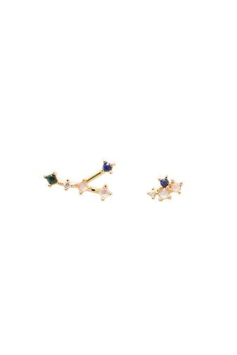 Kép 1/4 - PDPAOLA Aranyozott S925 Ezüst Horoszkópos Fülbevaló Kristályokkal - Rák