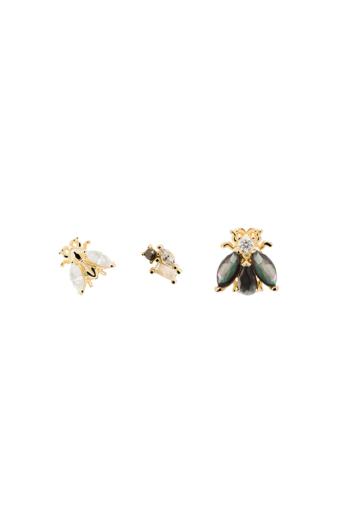 Kép 2/3 - PDPAOLA Aranyozott S925 Ezüst Fülbevaló Szett Méhecskével, 3 Különböző Fülbevalóval