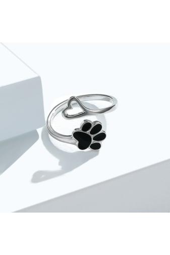 Kép 3/4 - A & ONE Állítható S925 Ezüst Mancs És Szív Alakú Gyűrű