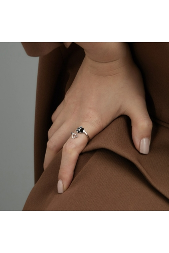Kép 4/4 - A & ONE Állítható S925 Ezüst Mancs És Szív Alakú Gyűrű