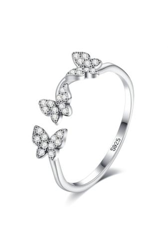 Kép 1/4 - A & ONE Állítható S925 Ezüst Gyűrű Pillangó Díszítéssel, Cirkónia Kövekkel