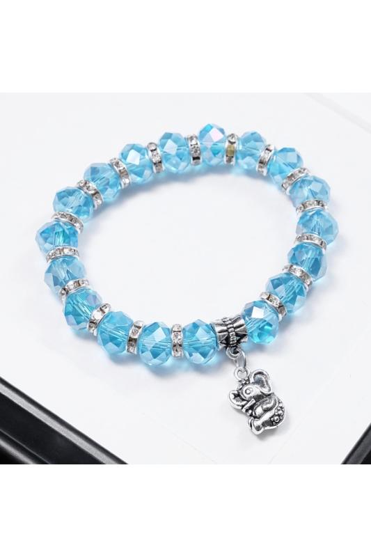 A & ONE Kék gyöngyös női karkötő,elafántos medállal díszítve