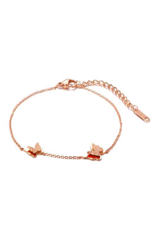 A & ONE Pillangókkal díszített rozsdamentes acélból készült rózsaarany színű bokalánc