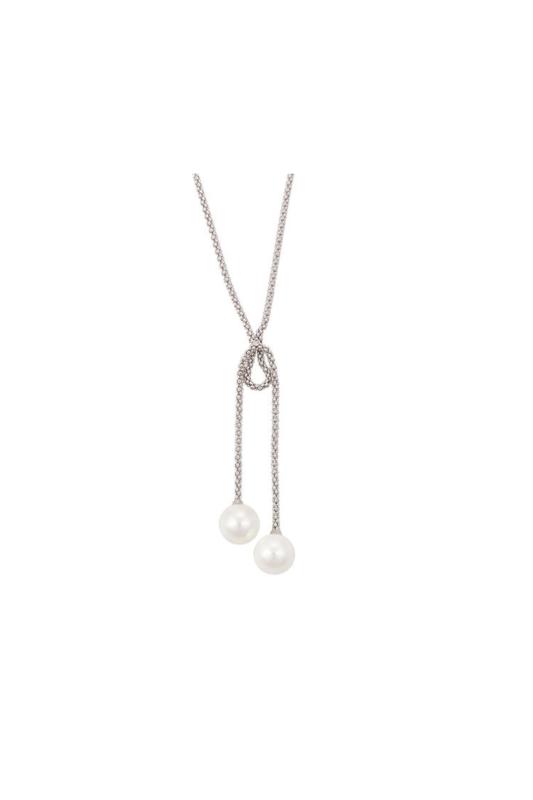 Xuping Ezüst színű rozsdamentes ötvözetből készült nyaklánc gyönggyel díszítve