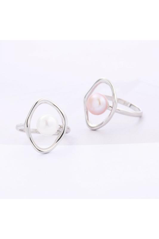 A & ONE Világos Rózsaszín Gyönggyel Díszített Ezüst Gyűrű