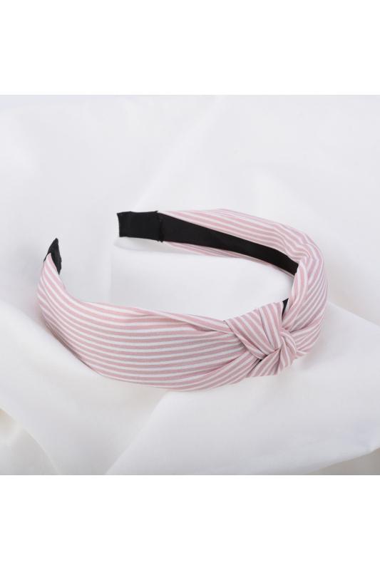 A & ONE Halvány Rózsaszín Textil Hajpánt Fehér Csíkokkal