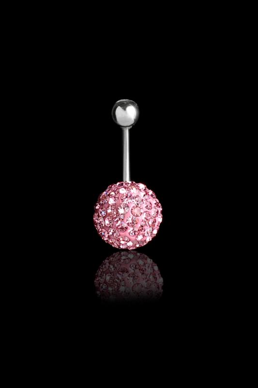 A & ONE Rózsaszín kristályos gömb orvosi acél piercing