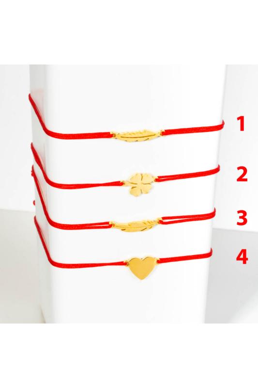 A & ONE Piros Fonal karkötő rozsdamentes acél Szív medállal