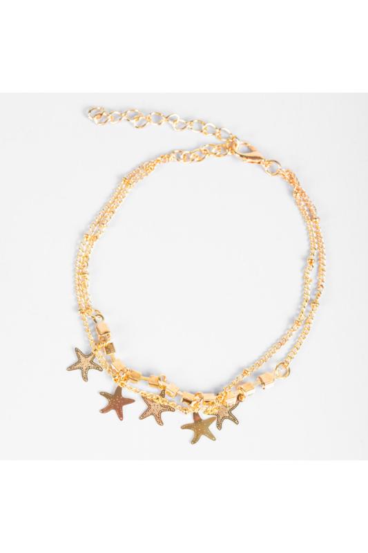 A & ONE Arany Színű Csillag Mintákkal És Strasszkövekkel Díszített Bokalánc