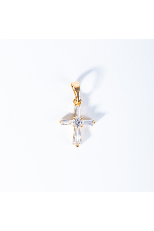 Xuping Arany Színű Rozsdamentes Acél Cirkónia Strasszköves Kismeretű Kereszt Alakú Medál