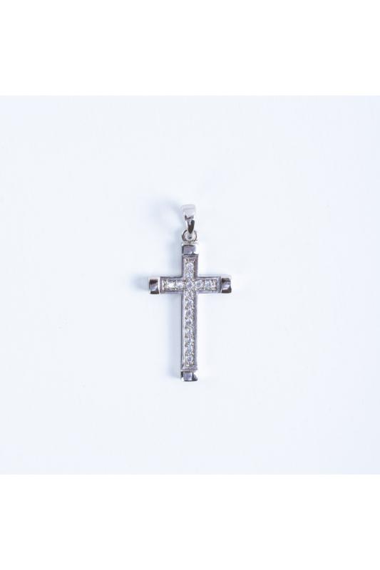 Xuping Ezüst Színű Rozsdamentes Acél Cirkónia Strasszköves Nagyméretű Kereszt Alakú Medál