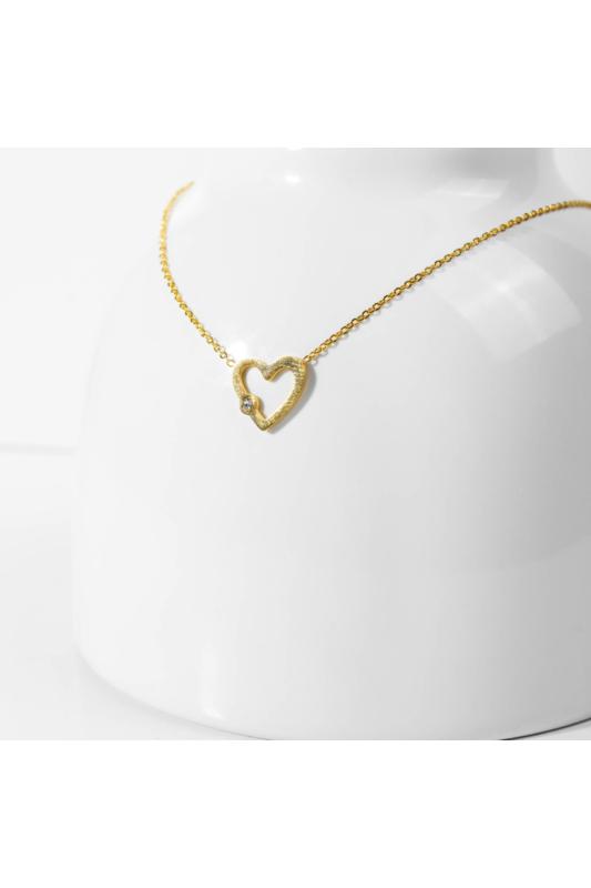 A & ONE Rozsdamentes acél nyaklánc, szív medállal