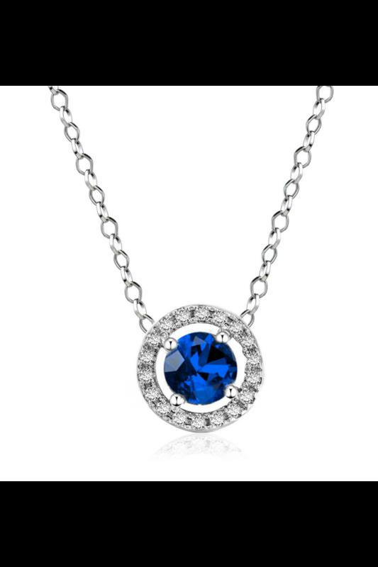 A & ONE Ezüst színű Aranyozott réz Nyaklánc kék Strassz kővel