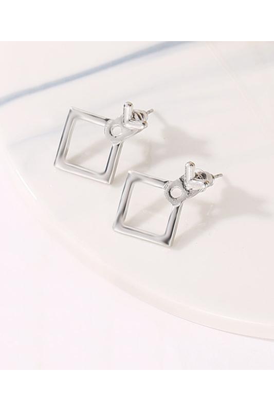 A & ONE Egyedi Ezüst színű négyzet alakú fülbevaló