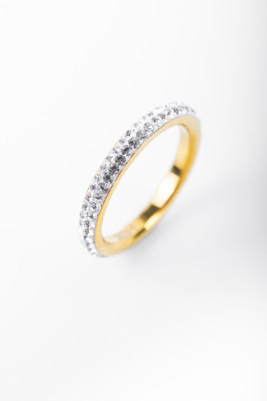 A & ONE Ezüst Színű Csillogó Strasszkövekkel Díszített Vékony Gyűrű