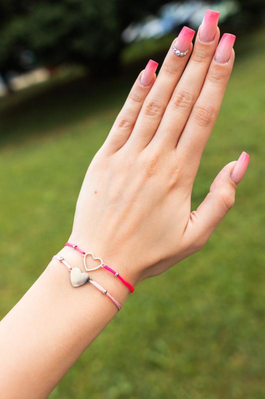 A & ONE Rózsaszín Textil Női 2db os Karkötő Szív Alakú Medállal