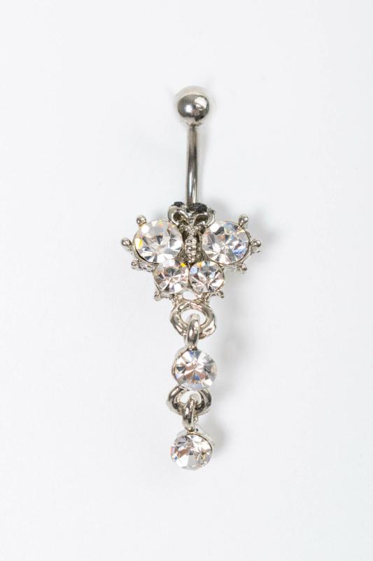 A & ONE Ezüst Színű Női Piercing Strasszkövekkel