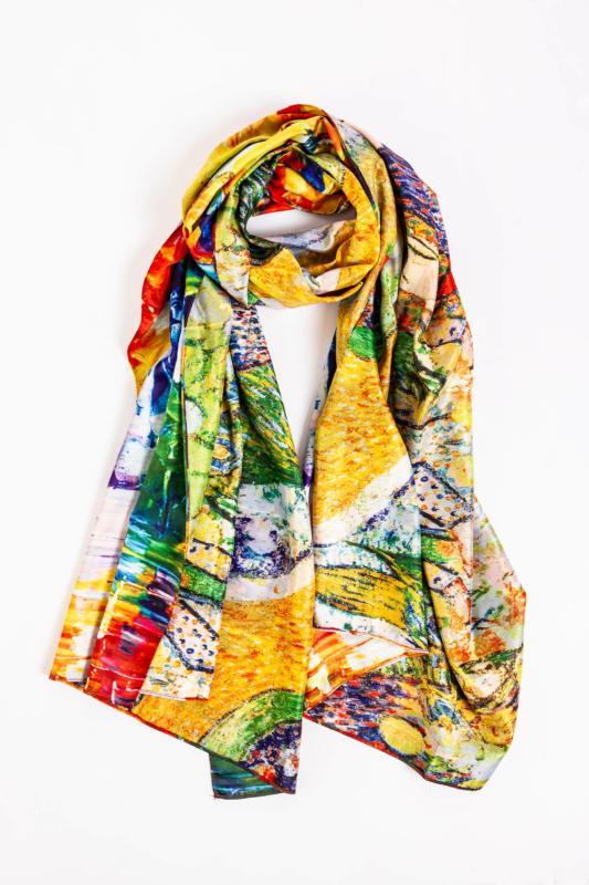 Színes Absztrakt Mintás Selyem Hatású Textil Sál