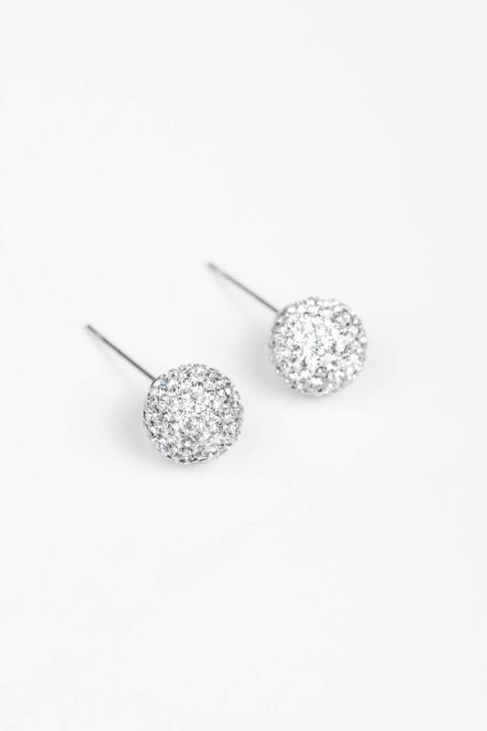 A & ONE Ezüst Színű Rozsdamentes Acél Gömb Fülbevaló Fehér  Swarovski® Kövekkel