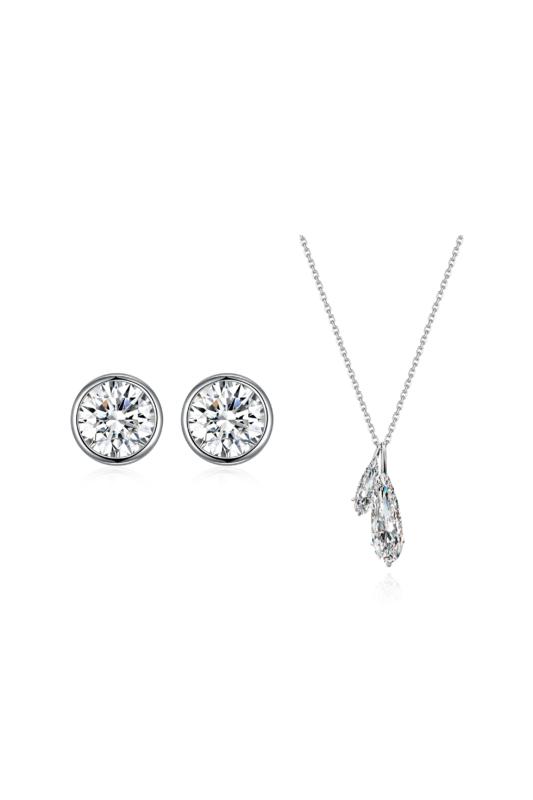 Shiny Crystal: Ezüst Fülbevaló Swarovski® Kristállyal És Csepp Alakú Ezüst Nyaklánccal